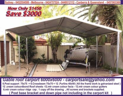 BRAND NEW GABLE OR FLAT ROOF CARPORT 6 X 6 $ 1450 or 6 x 9 $ 2250 Prestons Liverpool Area Preview
