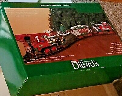 DILLARD'S TRIMMINGS ANIMATED CHRISTMAS TRAIN SET G SCALE BY NEW BRIGHT COMPLETE!
