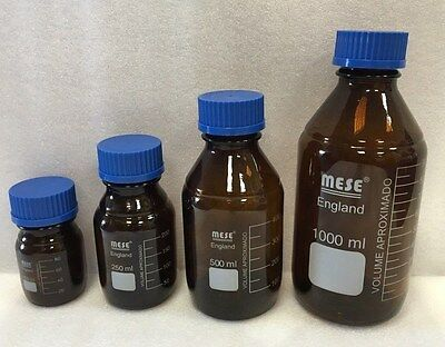 Mese Reagent Bottle 100 250 500 1000ml - Amber Glass - With Blue Screw Cap