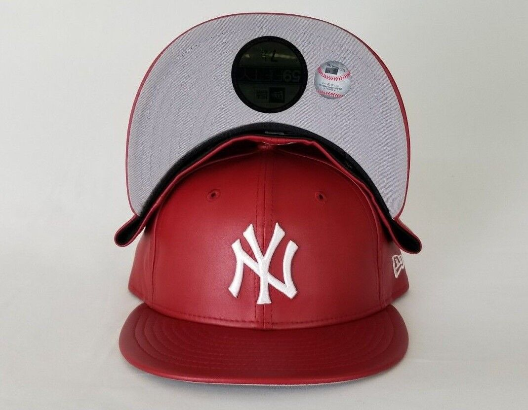 hot sale online f6115 e5ba3 New Era MLB New York Yankee 59Fifty Red on White PU Faux Leather Fitted hat.  NEW ARRIVAL !