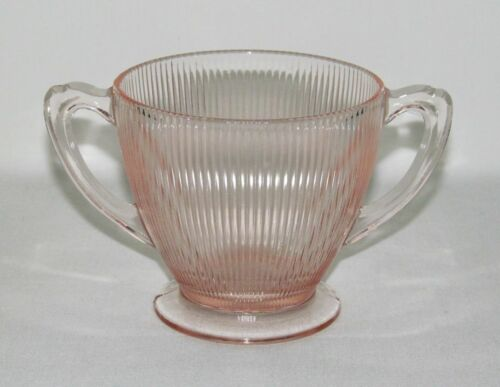 Jeannette Glass HOMESPUN Pink Footed Sugar Dish