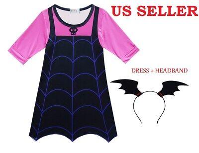 US STOCK! Girls Vampirina Cartoon Dress Holiday Party Cosplay Costume  B17](Holiday Party Costumes)