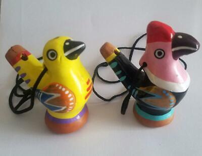 2 Keramik Vogel-Pfeife, Wasserpfeife Tonpfeife Vogel-Zwitscher-Flöte Papagei Tuk
