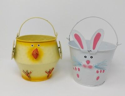 Easter Candy Buckets Bunny Chick Metal Handles White Yellow  - Metal Easter Buckets