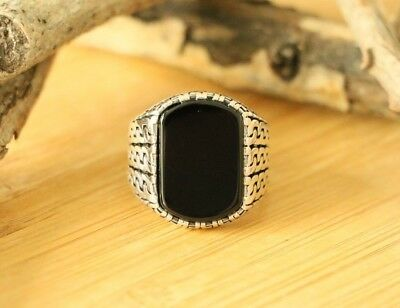 Mens Sterling Silver Onyx Ring (High Quality 925 Sterling Silver with Natural Black Onyx Stone Men's)