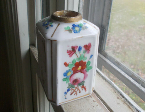 """EARLY PORCELAIN SNUFF BOTTLE WITH HAND PAINTED FLOWERS 3 1/2""""TALL REAL NICE"""