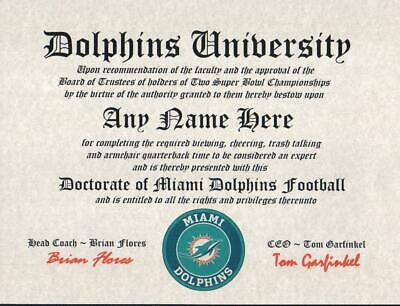 MIAMI DOLPHINS NFL FAN ~CERTIFICATE~DIPLOMA ~MAN CAVE ~ OFFICE #1 FUN  GIFT