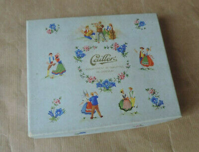 Antike Unterdruckdose Schokolade Caillers Blumen und Musiker Tänzer Paar ()