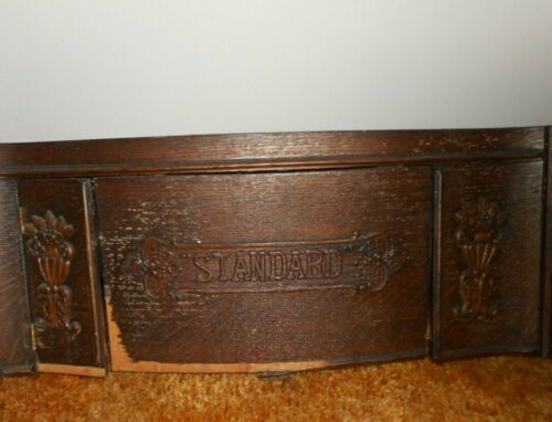 VINTAGE STANDARD TREADLE SEWING MACHINE WOOD CENTER FRONT