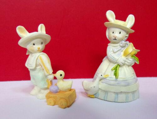Miniature Spring Easter RABBIT BUNNY Duck Tulip Resin Enesco Figurines