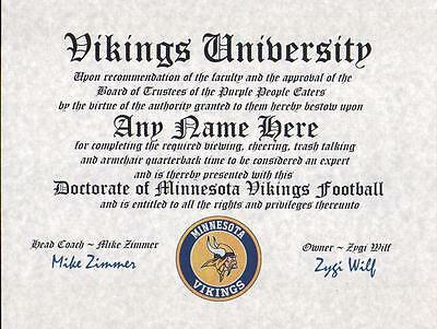 - MINNESOTA VIKINGS NFL FAN ~CERTIFICATE~DIPLOMA ~MAN CAVE ~ OFFICE #1  GIFT