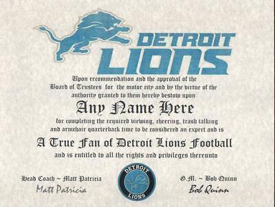 DETROIT LIONS NFL  TRUE FAN  ~ CERTIFICATE ~ DIPLOMA ~MAN CAVE ~ OFFICE FUN GIFT
