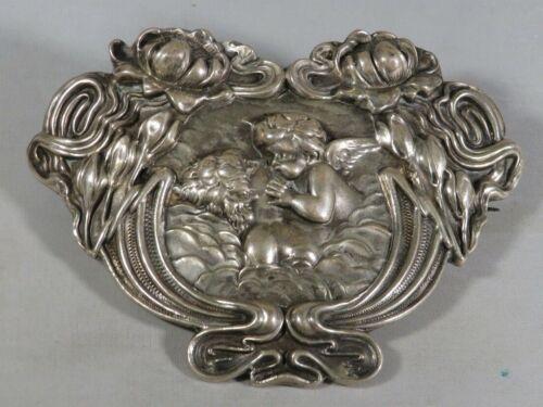 Antique Sterling Silver Art Nouveau Cherub and Woman Large Broach