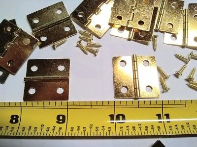 10 Brass Plated Butt Hinges  Size 1