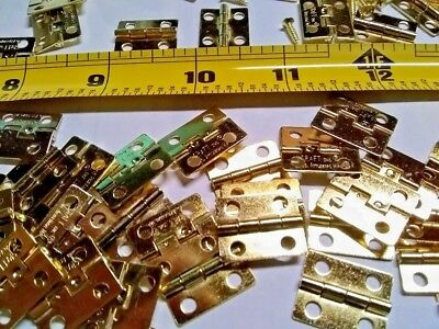 10 Brass Plated Butt Hinges Size 3/4