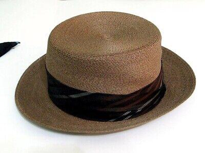 1950s Mens Hats | 50s Vintage Men's Hats Vintage 1950's Stetson Premier Straw Fedora Panama Hat w/ 2 Extra Hatbands Sz. 7 $60.00 AT vintagedancer.com