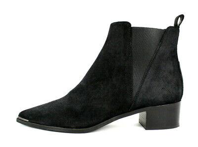 ACNE STUDIOS $560 Black Suede JENSEN Metal Toe Chelsea Boots 39