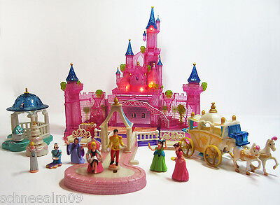 Mini Polly Pocket DISNEY Cinderella Schloss Licht 11 Figuren 100% Komplett...