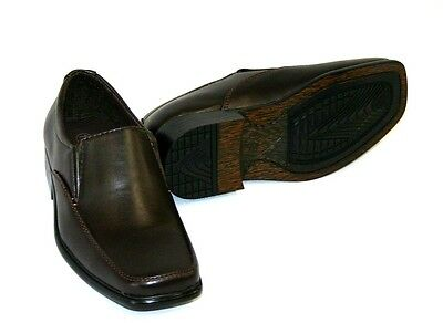 BRAND NEW BOYS' FASHION DRESS FORMAL  SLIP ON  BROWN KIDS 12  2 3  DS28 - Boys Brown Dress Shoes