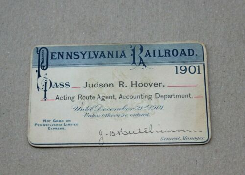 1901 Pennsylvania Railroad Pass Acting Route Agent Accounting Department