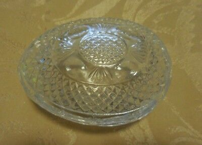 Avon EGG SHAPED DISH Clear Cut Glass EASTER DECOR Candy Dish MOTHER'S DAY 1977