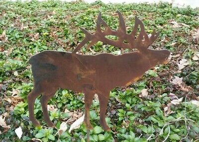 Rusty Elk Silhouette Garden Stake Lawn Ornament Amish Made USA Rustic Decor