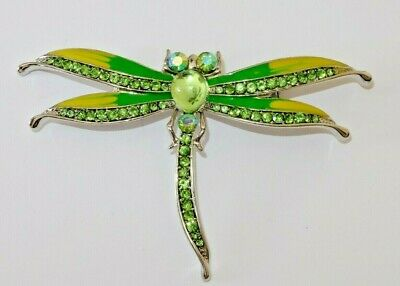Absolute Beautiful Dragon Fly GREEN Crystal Silver Plated Brooch
