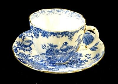 Beautiful Royal Crown Derby Blue Aves Cup And Saucer Aves-cup