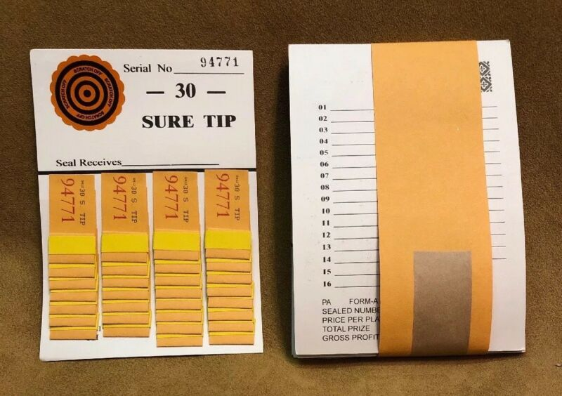 1 Dozen 30 SURE TIP BOARDS, Raffle Tickets, Jar Tickets, All Tip Boards, Raffles