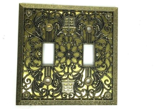VINTAGE ornate brass floral filigree double switch light plate cover by AMERTAC