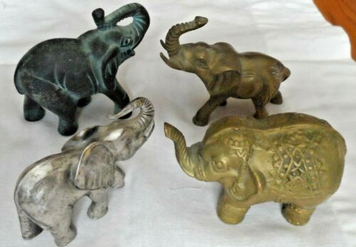 Lot of 4 Heavy Brass Metal Elephants PG Taiwan 1992-93 Paperweight Trunk Up