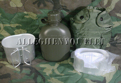 Military 4Pc 1 Quart PLASTIC CANTEEN SET w 1QT COVER, ALUMINUM CUP + STOVE NEW