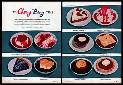 1956 Cherry Berry Sweet Desserts Kitchen Decor Recipes Vintage 1950S Print Ad