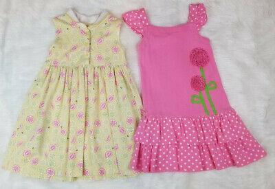 Gymboree (lot of 2) Dresses Girls Size 5T Cotton Yellow & Pink Print
