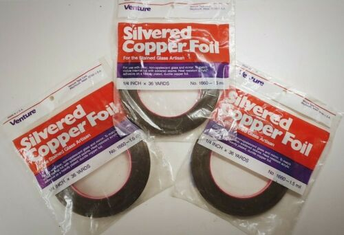 3 Rolls Venture 1660 Silvered Copper Tape 1/4 x 36YD Stained Glass Foil Supplies