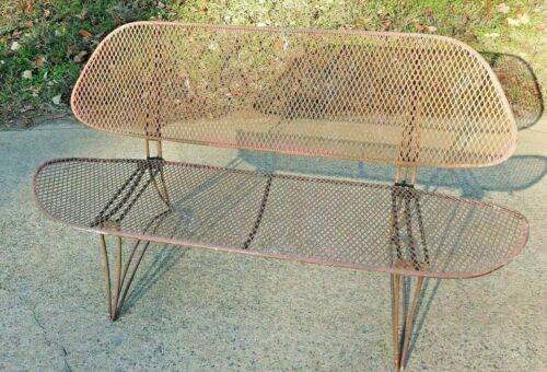Mid Century Modern Settee Sofa Vintage Wrought Iron Patio Metal Wire