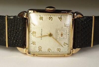 Longines 14K Solid Gold Square 17J 10L Vintage 1940's Swiss Watch Black Leather