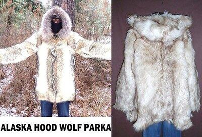 2500$ FAB! real genuine Fur ALASKA ESKIMO COYOTE HOODED PARKA JACKET COAT lot Coyote Hooded Parka