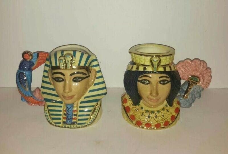 Royal Doulton Tutankhamun D7127 & Ankhesenamun D7128 Ltd Ed 1500 COA 1998/99