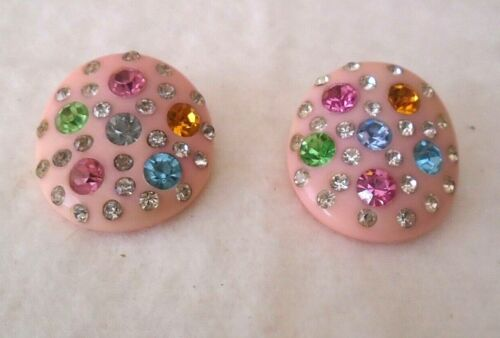 RARE VTG Pink Bakelite Clip-on Earrings with colored inset Rhinestones