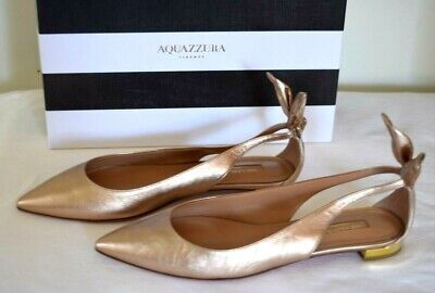 Aquazzura Firenze Gold Singback Pointed Toe Back Bow Pump Flat Size 38