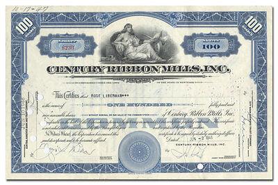 Century Ribbon Mills, Inc. Stock Certificate