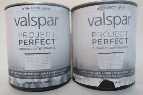 (2) Valspar Project Perfect 60070 White Gloss Inter Exter Durable Latex 1 Qt