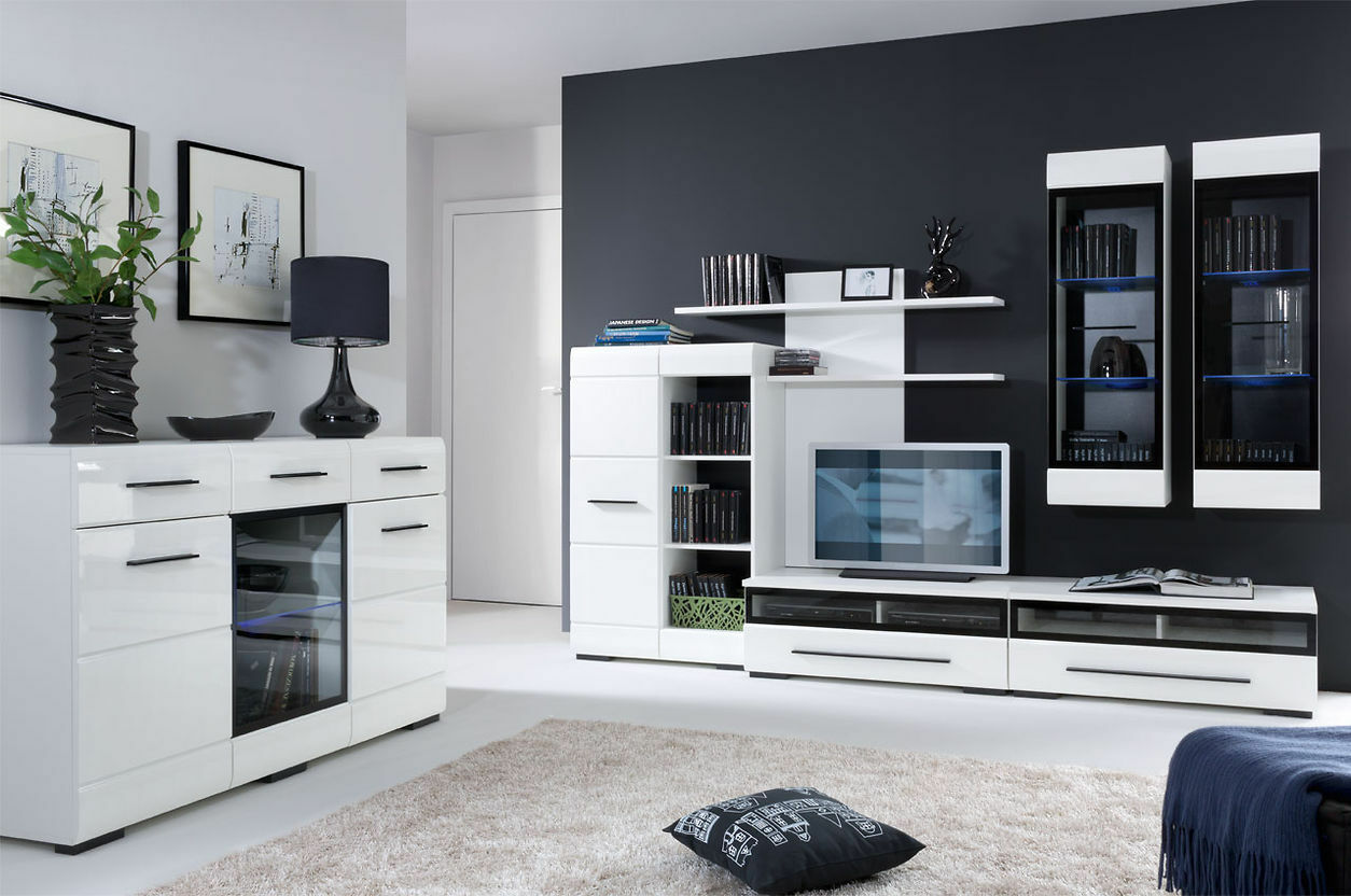 Funky White Gloss Wall Unit Living Room Composition - Wall Art Ideas ...