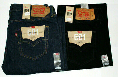 Men Levi's 501 Denim Straight Fit Black and Blue Jean Original UK Stock