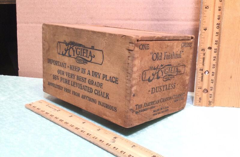 "Vintage ""Old Faithful"" Hygieia The American Crayon Company Wood Box Very Nice"