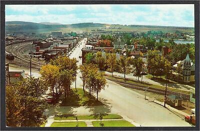 Lac-Megantic QC Rue Frontenac Street View Railroad Yard Postcard c.1950s