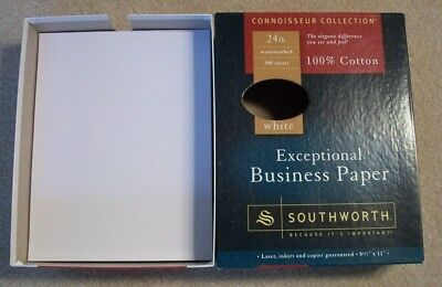Southworth Exceptional Resume Paper 100% Cotton WHITE Watermarked (10 Sheets)
