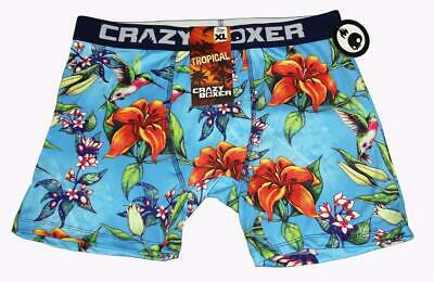 Crazy Boxer Tropical Lily Flowers Hummingbird Colorful Boxer Briefs NWT -