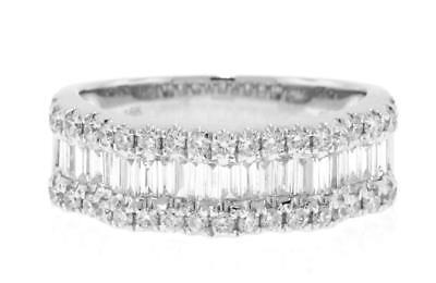VS1 Diamond Anniversary Ring 1.25ct Baguette 18k White Gold Band